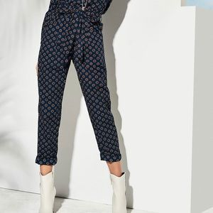 Polka dot trousers with paper bag waist